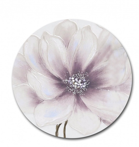 Round Purple Flower Canvas 60cm