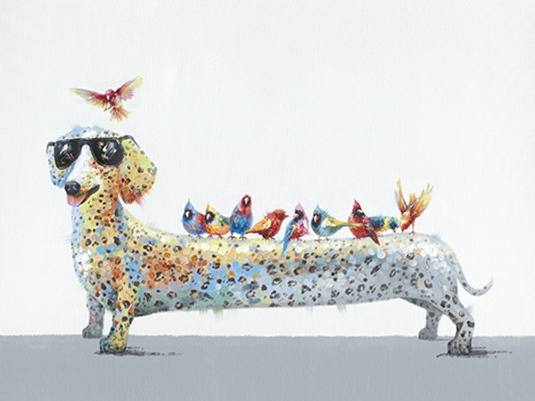 Dog with Birds Canvas 90x120cm