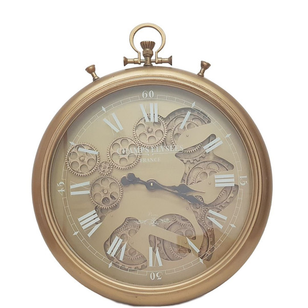 Chronograph Moving Gears Wall Clock (Gold)