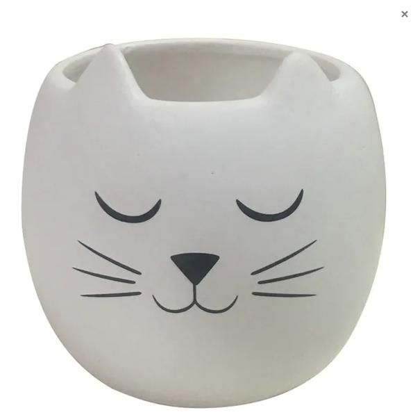 Felix Cat Ceramic Planter / White