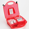 Burns First Aid Kit in Red Box with compartments for easy identification during emergency.