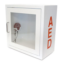 Storage Cabinet for AED. Alarm Sounds when the door is opened. Compatible with most AEDs.