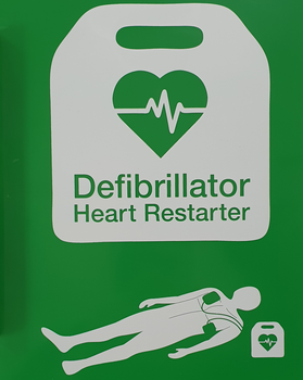 AED Signage on both sides of the cabinet