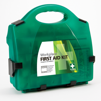 BS8599-1 Small First Aid Kit  in a sturdy green box with wall mounting bracket.