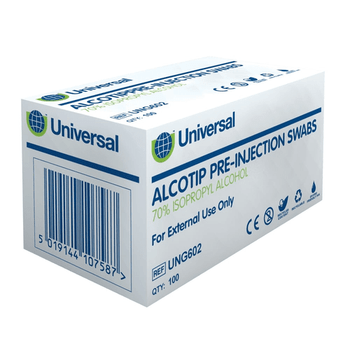 Pre-Injection Alcohol Swabs / Wipes, 100/pk
