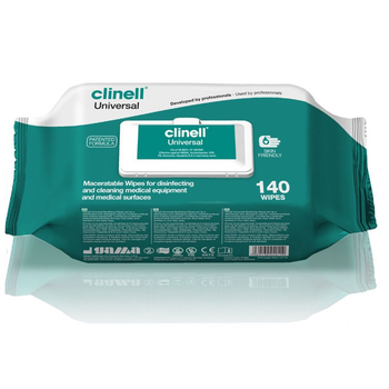 Clinell Universal Wipes Maceratable in a dispenser pack of 160 wipes