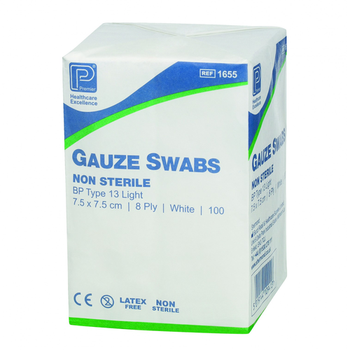 Absorbent Cotton Gauze Swabs BP 5cm x 5cm, 8ply, Non Sterile, Type 13