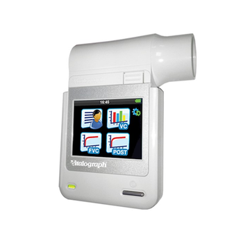 Vitalograph Micro Handheld Spirometer with coloured touch screen and icon driven menu
