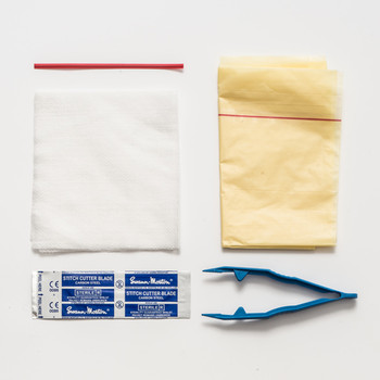 Suture Removal Pack witch stitch cutter blade, forcep, non woven swabs, clinical waste bag and red tie for bag