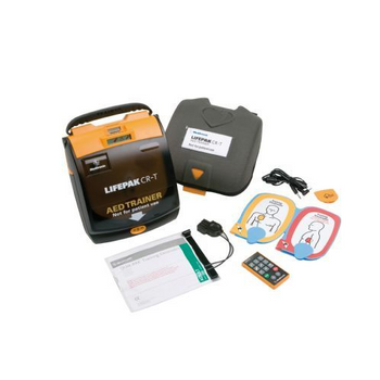 Lifepak CR-T Training Defibrillator(AED) with remote control, quik-pak training electrodes with cable and connector, batteries and carry case.