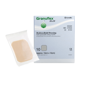 Granuflex Hydrocolloid 10cm x 10cm Semi- Permeable Dressing, Pack of 10