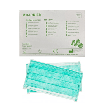 Barrier  Medical Face Mask  in Green colour with Tie - bands.