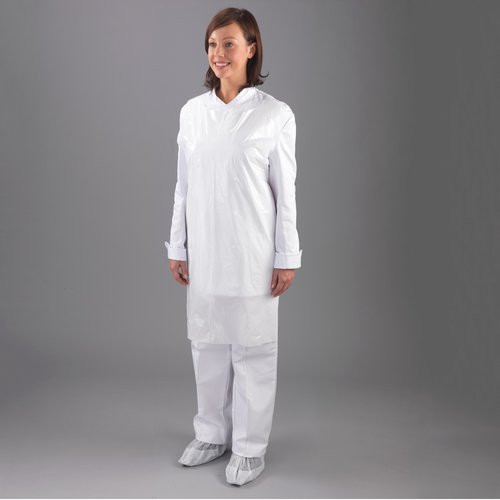 Disposable Polythene Aprons, Flat Packed, White colour