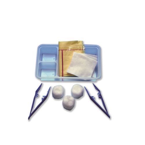 Small Dressing Pack with cotton balls, swabs, forceps in a tray with gallipot