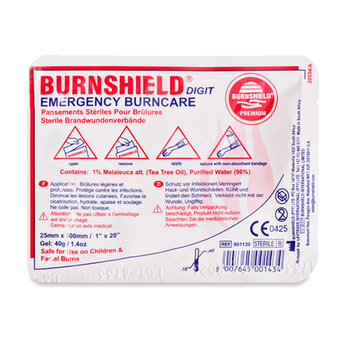 Burnshield Digit Burns Dressing  with a sterile, water-based gel.
