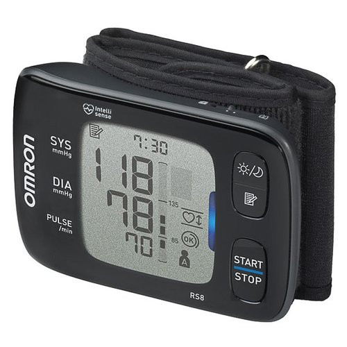 Omron RS8 with integrated cuff to be worn around the wrist