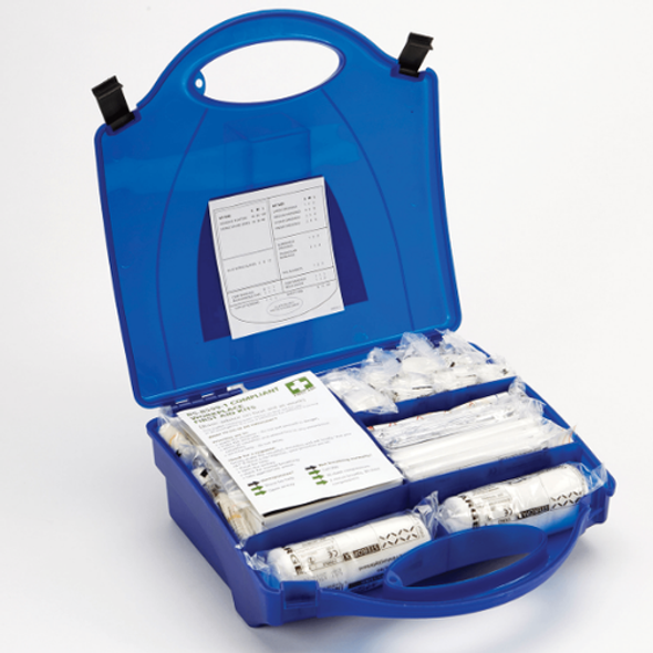 Catering First Aid Kits in a Premier Blue Box with compartments keeping everything organised and easy to locate!