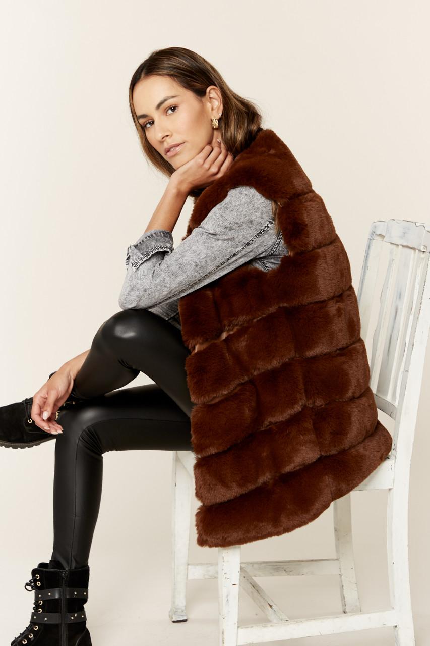 New Women Diagonal Cut Sleeveless Faux Fur Gilet
