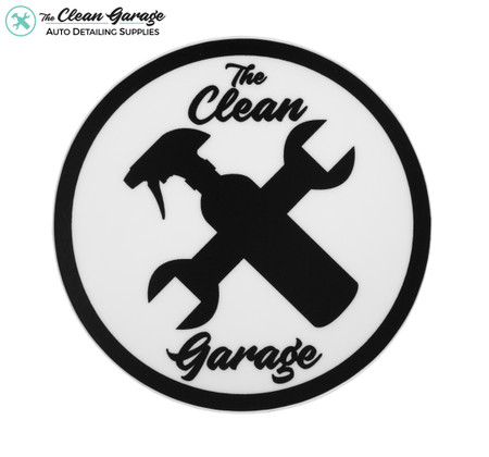 "The Clean Garage Classic Logo Sticker | 3"" Matte White and Black"