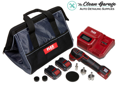 The Clean Garage Flex PXE 80 Cordless Mini Nano Polisher   12.0 Set Kit 2 Batteries