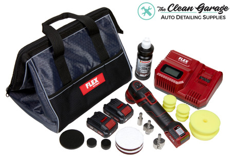 The Clean Garage Flex PXE 80 Cordless Mini Nano Polisher Kit | Polish and Pads