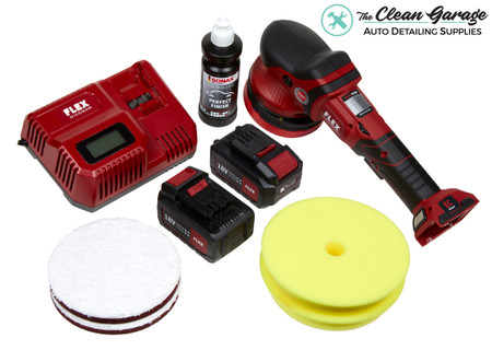 The Clean Garage Flex XFE 15 150 Kit | Cordless Random Orbital Polisher Combo