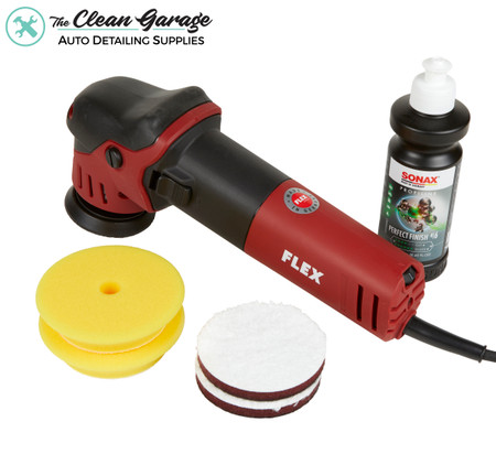 "The Clean Garage Flex XFE 7-12 80 3"" Mini Random Orbital Polisher | Kit 1 Pads and Polish"