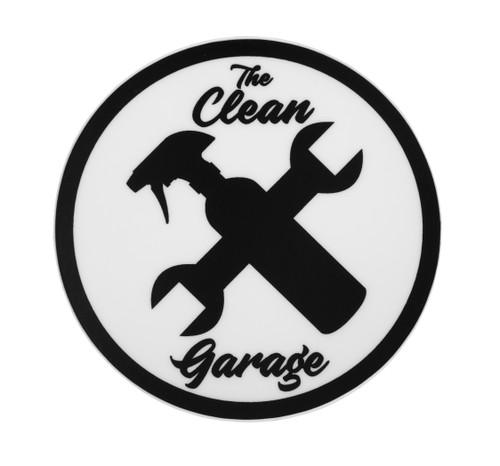 "The Clean Garage Classic Logo Sticker | 3"" Matte White and Black"