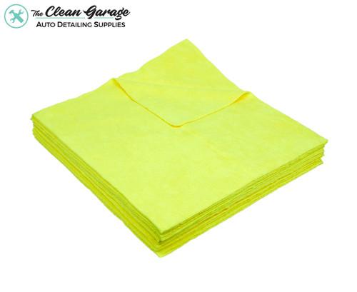 The Clean Garage Yellow All Purpose & Polishing 380 GSM Microfiber Towel Edgeless | 12 Pack