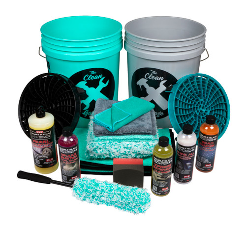 Clean Garage P&S Double Black Collection Car Wash Kit | 1 or 2 Buckets