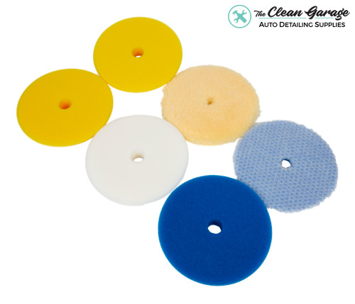 "The Clean Garage Rupes Polishing Pad Kit | 6 Pads for 5"" Backing Plate | DA Foam Wool"