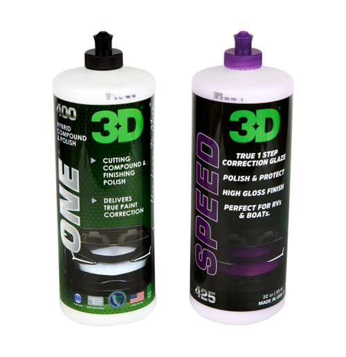 Clean Garage 3D Speed & One 32oz Combo   One Step Polish and All In One Kit
