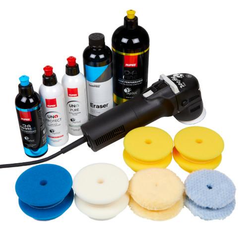Rupes LHR75E Mini Polisher Kit 5   New DA System Pads Compounds