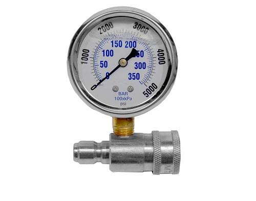 """The Clean Garage MTM Stainless Steel 5K PSI Pressure Gauge Kit 