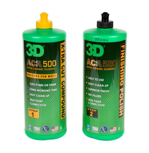 Clean Garage 3D ACA 500 & 520 Combo 32oz | Body Shop Safe Compound & Polish