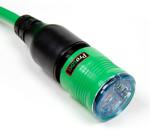 50' Pro Lock Locking Lighted Extension Cord | 12/3 SJTW Green