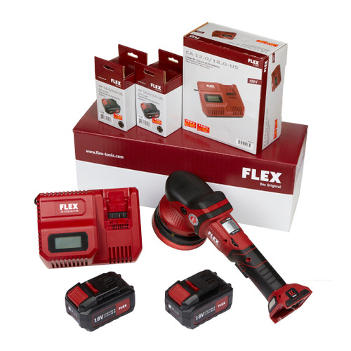 Clean Garage Flex XCE 8 125 18.0-EC/5.0 | Cordless Forced Rotation Polisher Kit With 2 Batteries