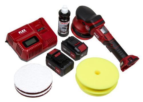 The Clean Garage Flex XFE 15 150 Kit   Cordless Random Orbital Polisher 2 Battery Combo