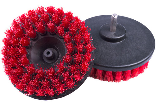 """Carpet Cleaning Brush Drill Attachment   5"""" Red Stiff"""