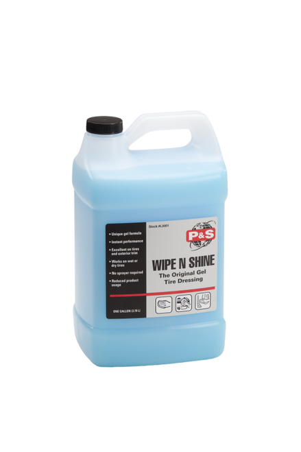 The Clean Garage P&S Wipe N Shine Tire Dressing Gel 1 Gallon | Apply Wet or Dry