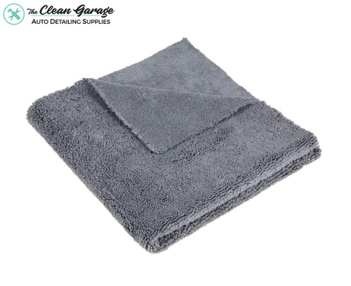 The Clean Garage Dual Pile Edgeless 500 GSM Microfiber Detailing Towel Grey   16x16