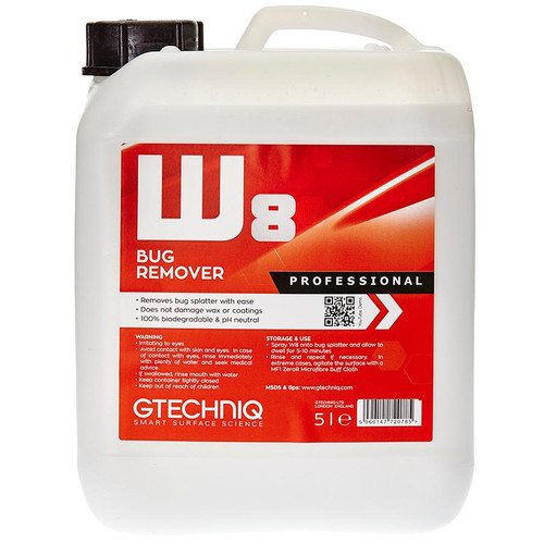 The Clean Garage Gtechniq W8 Bug Remover 5 Liter | Insect Removal Spray 169oz