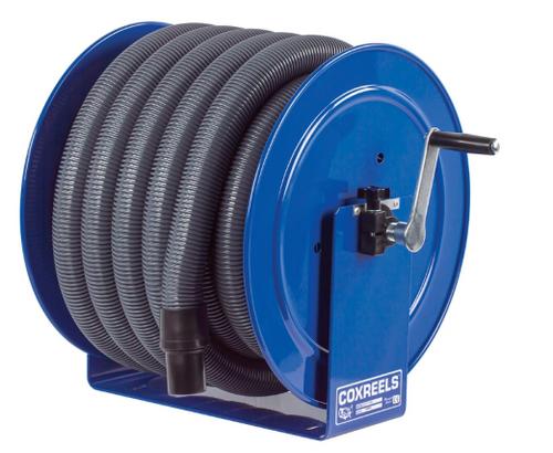 The Clean Garage Cox Vacuum Hose Reel Blue | Hand Crank | Includes 50' Vac Hose