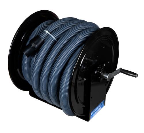 Clean Garage Cox Vacuum Hose Reel Black | Hand Crank | Includes 50' Vac Hose