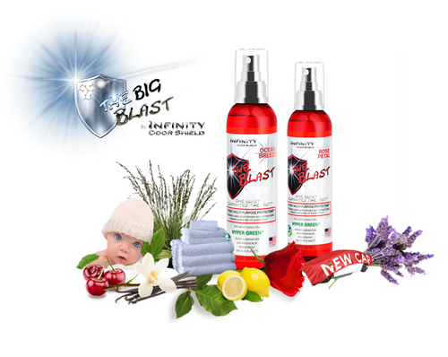 The Big Blast™ by Infinity (8 oz) Case of (12) Eliminates Odor & Smoke On Contact, Water Based. Non-Toxic, pH Balance 7.0.  Eliminates Cigarettes, Cigar, & Cannabis Smoke On Contact. Apply To Clothing, Fabric, Or Hard Surfaces.