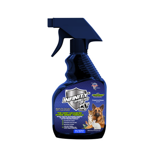 Pet Pro 12 oz  In today's world, our pets are our family, we live, work, and play with them, some 24 hours a day! Families no longer just have one pet, we have many! Infinity Shields Pet Pro™ is an award-winning innovative water-based patented formula that has proven itself in every situation imaginable. Infinity Shields Pet Pro™ is the most efficient & economic product which provides long-lasting results. We now can co-exist with our pets on an entirely higher level. Infinity Shields Pet Pro™ has professional strength Hyper Green Technology® water-based, non-toxic, non-corrosive, with a pH balance of 7.0. Once on the on   the treated surface our shield creates an invisible barrier of long-lasting protection providing continued efficiency.