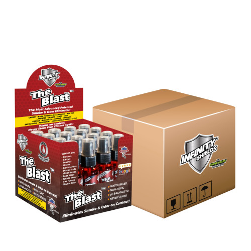 The Blast by Infinity Shields Smoke & Odor Eliminator MASTER CASE 3 (192 Mini Sprayers 1.67oz) Almond, Cinnamon, Vanilla, Rose Petal