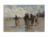 Sargent Fishing for Oysters at  Cancale 11x14  Matted Print