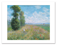 Claude Monet, Meadow With Poplars Matted Print