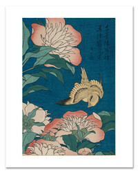 Hokusai Peonies and Canary